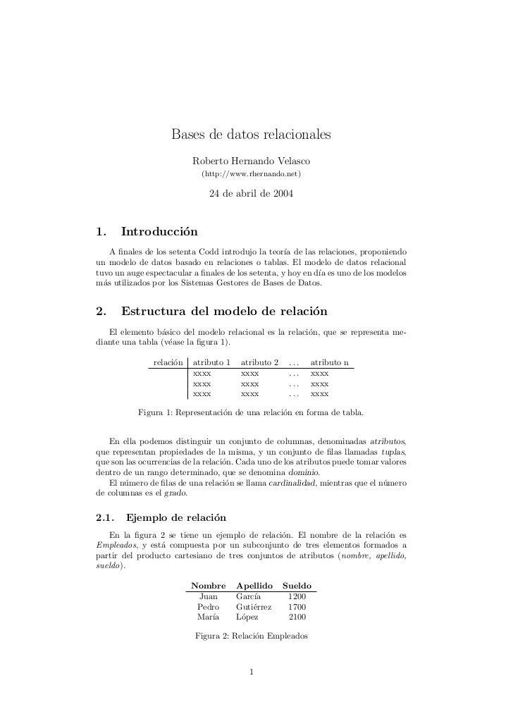 Bases de datos relacionales                          Roberto Hernando Velasco                            (http://www.rhern...