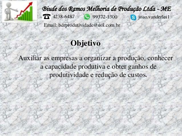 Biude dos Ramos Melhoria de Produção Ltda - ME 4238-6487 99372-1300 joao.vanderlei1 Email: bdrprodutividade@uol.com.br Aux...