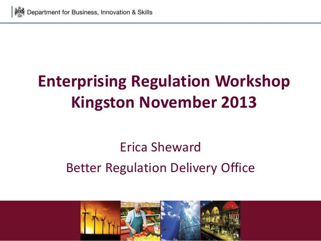 Enterprising Regulation Workshop Kingston November 2013 Erica Sheward Better Regulation Delivery Office