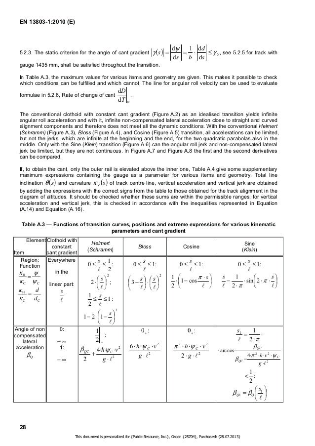EN 13803-1:2010 (E)  v ' $ h, v    −      29  Table A.3 (continued)  Element  Item  Clothoid with  constant  cant gradient...