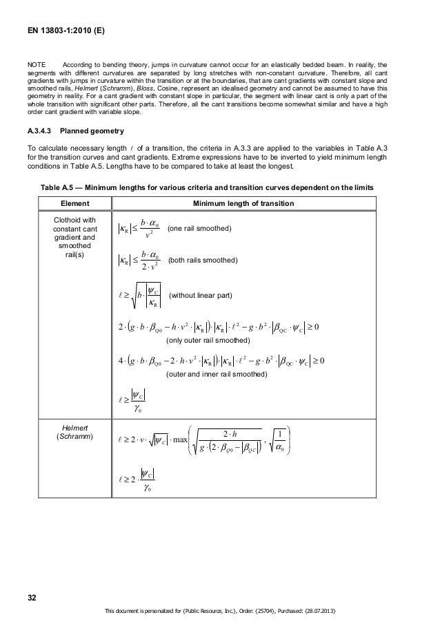 EN 13803-1:2010 (E)  33  Table A.5 (continued)  Element Minimum length of transition  Bloss  #  ! !      v h l  6 max , 1 ...