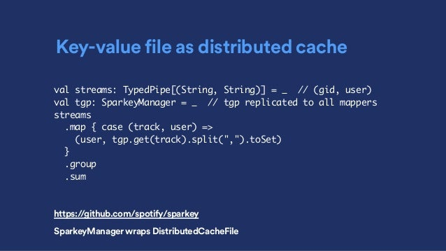 Key-value file as distributed cache val streams: TypedPipe[(String, String)] = _ // (gid, user) val tgp: SparkeyManager = ...