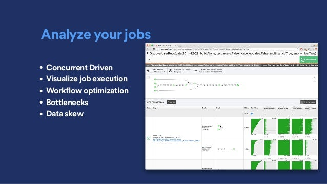 Analyze your jobs • Concurrent Driven • Visualize job execution • Workflow optimization • Bottlenecks • Data skew