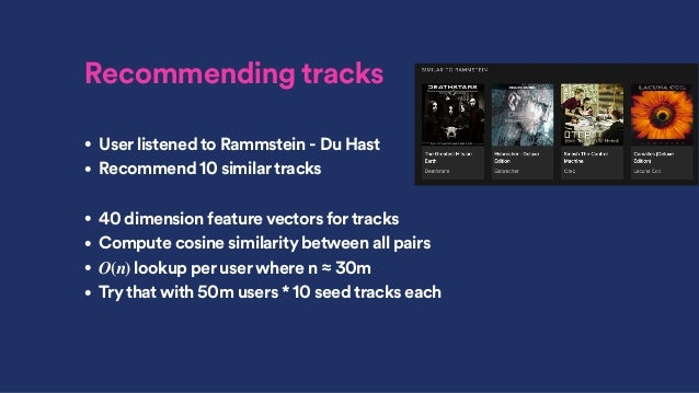 Recommending tracks • User listened to Rammstein - Du Hast • Recommend 10 similartracks • 40 dimension feature vectors for...