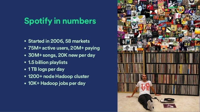 Spotify in numbers • Started in 2006, 58 markets • 75M+ active users, 20M+ paying • 30M+ songs, 20K new per day • 1.5 bill...