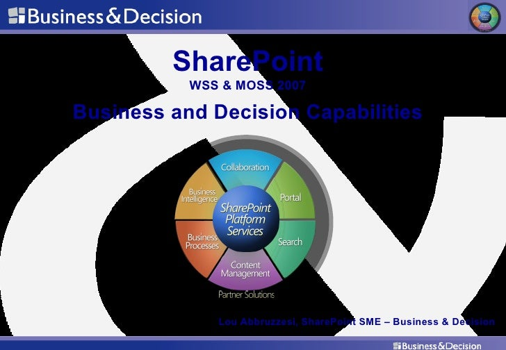 SharePoint WSS & MOSS 2007 Business and Decision Capabilities Lou Abbruzzesi, SharePoint SME – Business & Decision