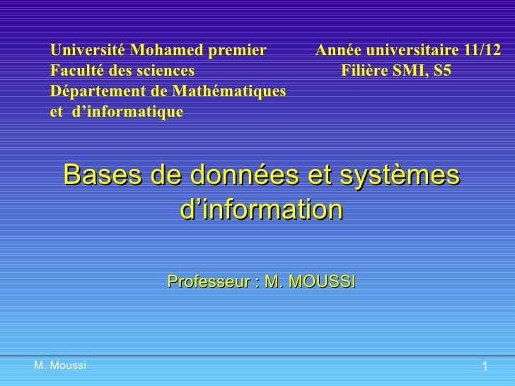 Université Mohamed premier   Année universitaire 11/12 Faculté des sciences  Filière SMI, S5 Département de Mathématiques ...