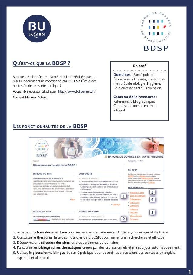LES FONCTIONNALITÉS DE LA BDSP En bref Domaines : Santé publique, Économie de la santé, Environne- ment, Épidémiologie, Hy...
