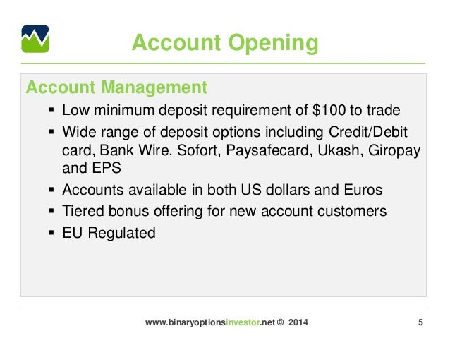 Binary options minimum deposit 5