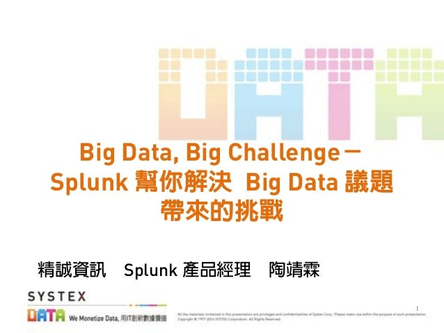 ! Big Data, Big Challenge Splunk Big Data Splunk