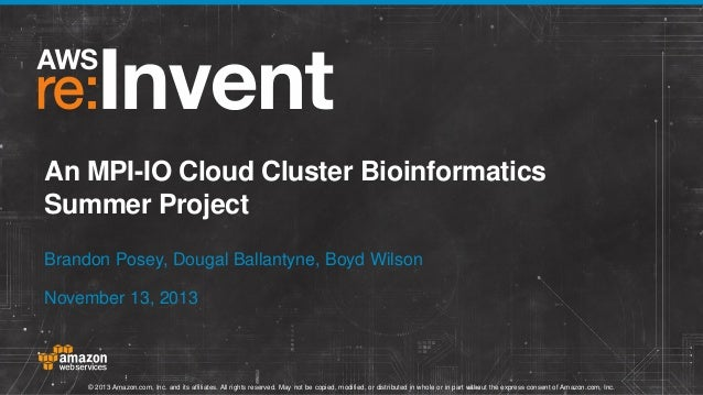 An MPI-IO Cloud Cluster Bioinformatics Summer Project Brandon Posey, Dougal Ballantyne, Boyd Wilson November 13, 2013  © 2...