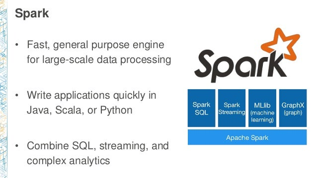 Spark • Fast, general purpose engine for large-scale data processing • Write applications quickly in Java, Scala, or Pytho...
