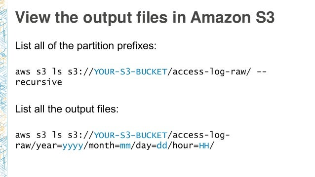 View the output files in Amazon S3 YOUR-S3-BUCKET YOUR-S3-BUCKET yyyy mm dd HH