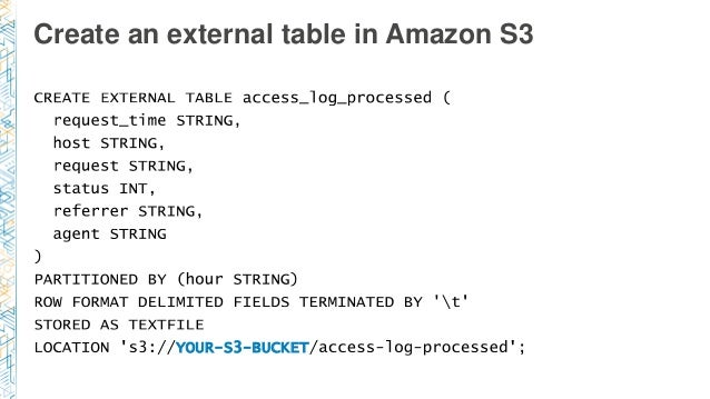 Create an external table in Amazon S3 YOUR-S3-BUCKET