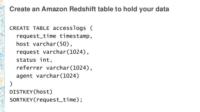 Create an Amazon Redshift table to hold your data
