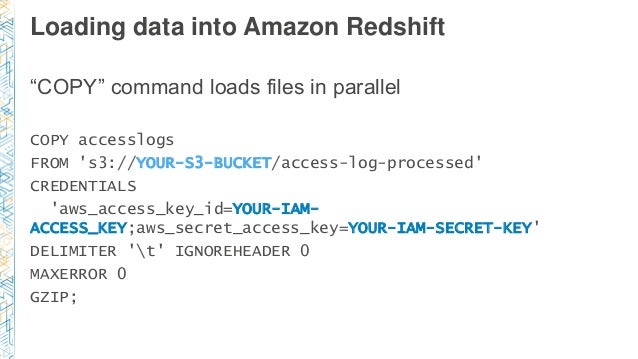 """Loading data into Amazon Redshift """"COPY"""" command loads files in parallel COPY accesslogs FROM 's3://YOUR-S3-BUCKET/access-..."""