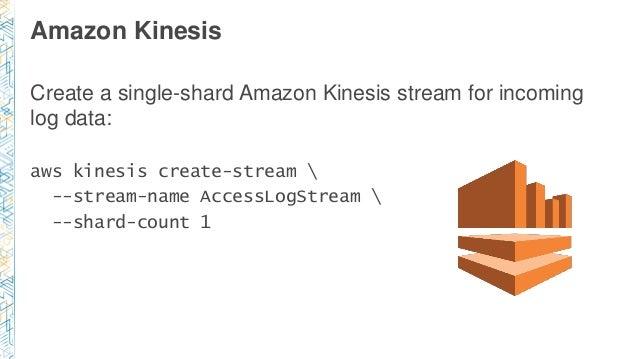 Amazon Kinesis Create a single-shard Amazon Kinesis stream for incoming log data: aws kinesis create-stream  --stream-name...