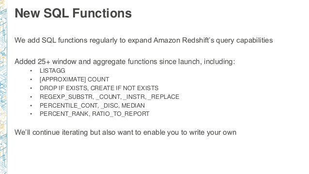 BDT401) Amazon Redshift Deep Dive: Tuning and Best Practices
