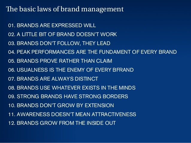 17 01. BRANDS ARE EXPRESSED WILL 02. A LITTLE BIT OF BRAND DOESN'T WORK 03. BRANDS DON'T FOLLOW, THEY LEAD 04. PEAK PERFOR...