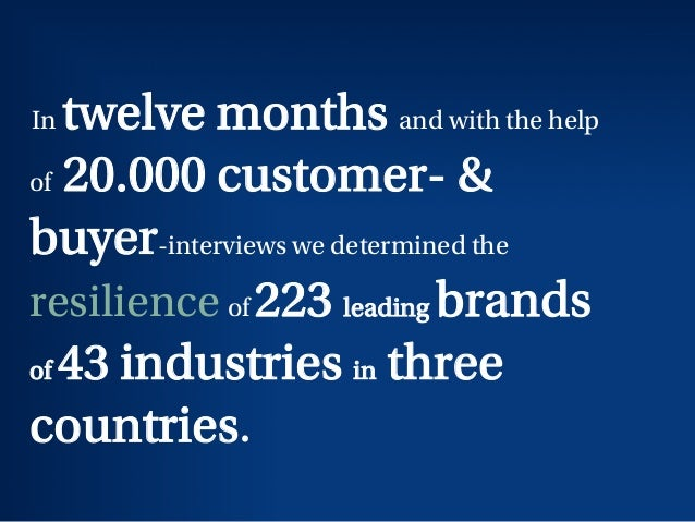 In twelve months and with the help of 20.000 customer- & buyer-interviews we determined the resilience of 223 leading bran...