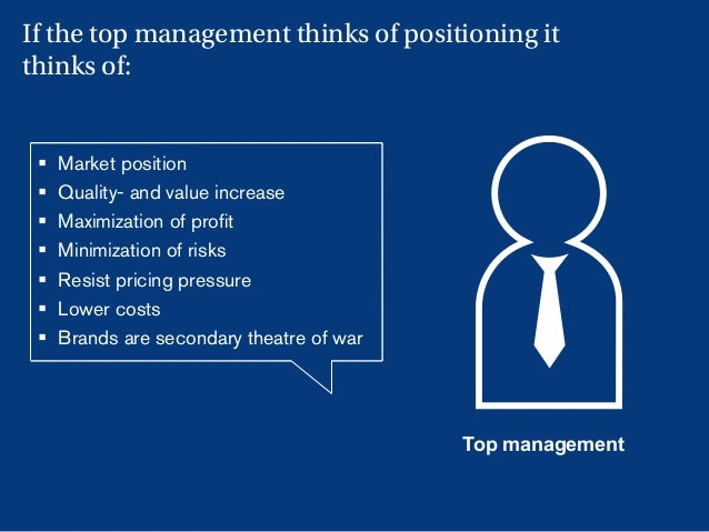 20 Top management § Market position § Quality- and value increase § Maximization of profit § Minimization of risks § R...