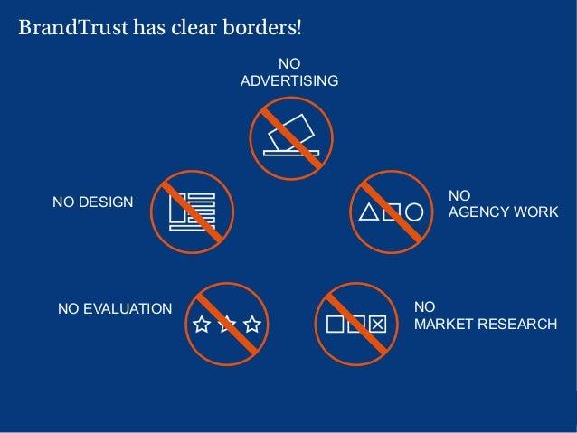 9 BrandTrust has clear borders! NO ADVERTISING NO DESIGN NO MARKET RESEARCH NO EVALUATION NO AGENCY WORK