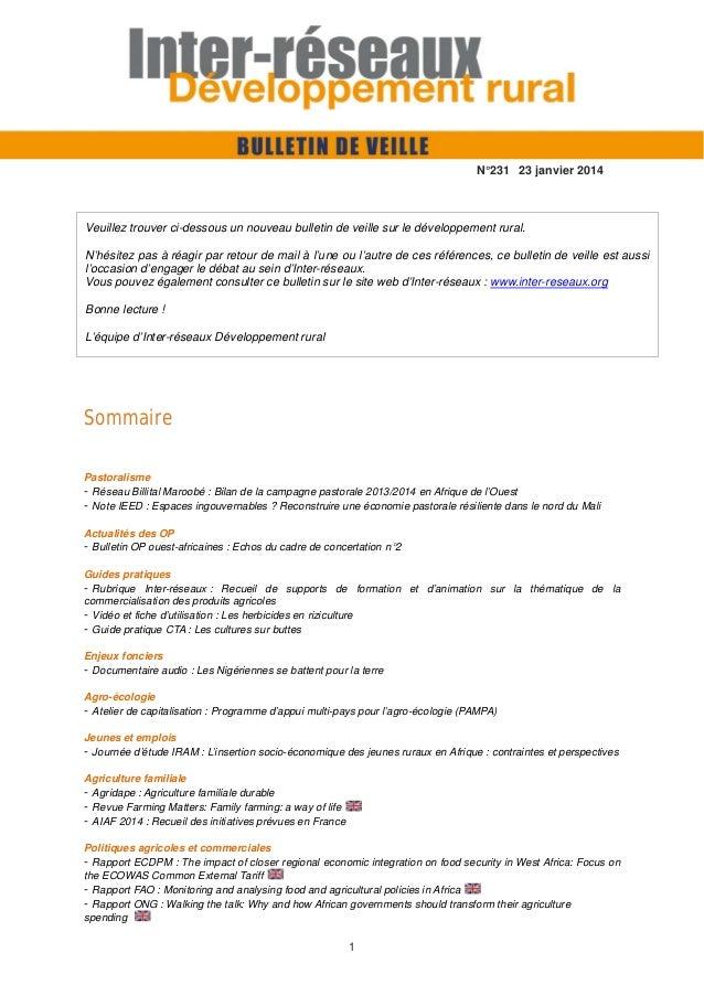 N°231 23 janvier 2014  Veuillez trouver ci-dessous un nouveau bulletin de veille sur le développement rural. N'hésitez pas...