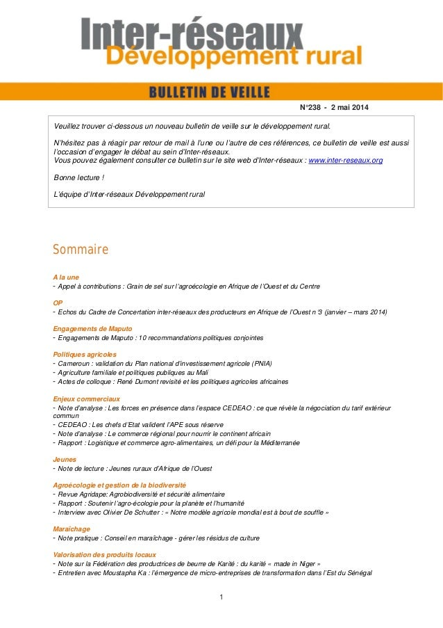 1 Sommaire A la une - Appel à contributions : Grain de sel sur l'agroécologie en Afrique de l'Ouest et du Centre OP - Echo...