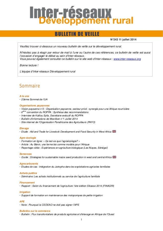 1 Sommaire A la une - 23ème Sommet de l'UA Organisations paysannes - Vision paysanne n°2 : Organisation paysanne, secteur ...