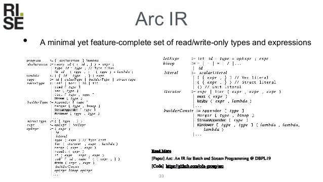 Arc Optimisations • Arc supports both compiler and dataflow optimisations • Compiler: Loop unrolling, partial evaluation, ...