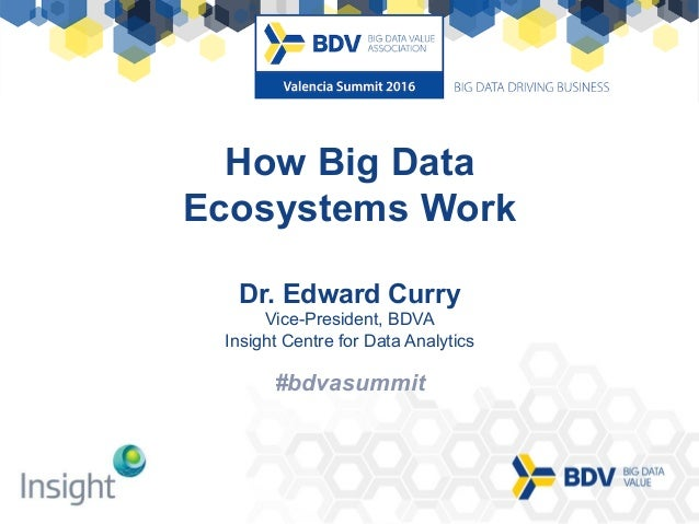 #bdvasummit	 #bdvasummit How Big Data Ecosystems Work Dr. Edward Curry Vice-President, BDVA Insight Centre for Data Analyt...