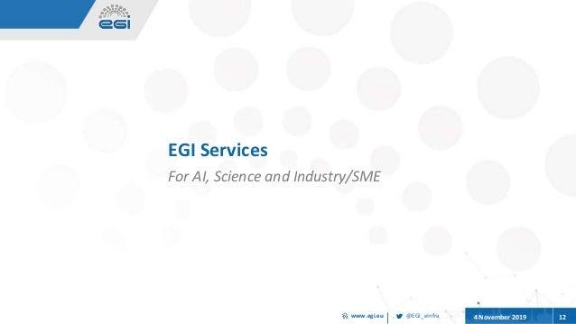 @EGI_eInfrawww.egi.eu 4 November 2019 12 EGI Services For AI, Science and Industry/SME