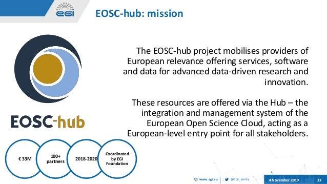 @EGI_eInfrawww.egi.eu 4 November 2019 33 € 33M 100+ partners 2018-2020 Coordinated by EGI Foundation The EOSC-hub project ...