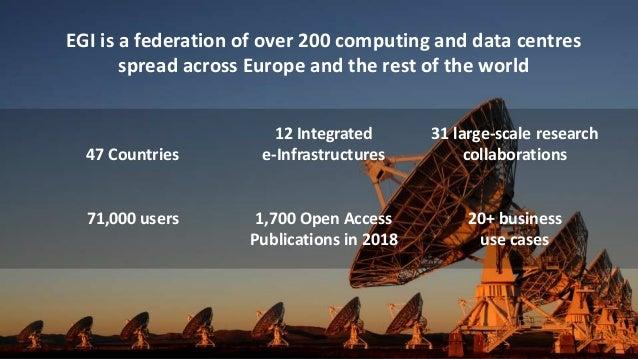 @EGI_eInfrawww.egi.eu 4 November 2019 9 EGI is a federation of over 200 computing and data centres spread across Europe an...