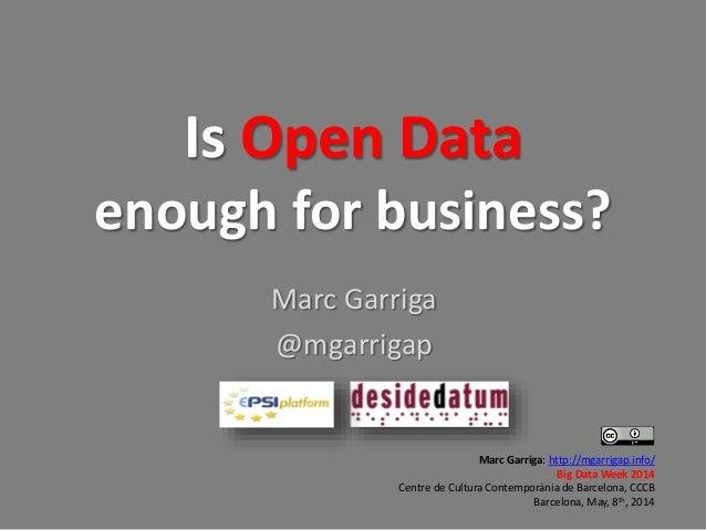 Is Open Data enough for business? Marc Garriga @mgarrigap Marc Garriga: http://mgarrigap.info/ Big Data Week 2014 Centre d...