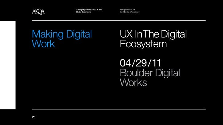 Making Digital Work / UX In The   All Rights Reserved.          UX In The Digital Ecosystem          DIgital Ecosystem    ...