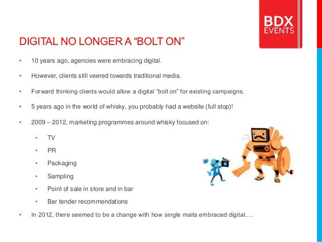 """DIGITAL NO LONGER A """"BOLT ON"""" • 10 years ago, agencies were embracing digital. • However, clients still veered towards tra..."""