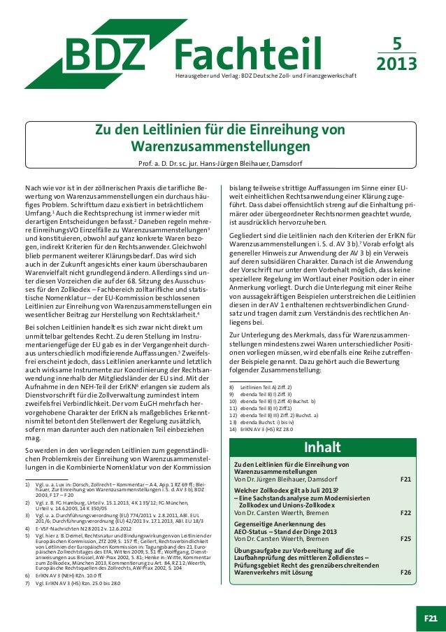 Fachteil 5 2013Herausgeber und Verlag: BDZ Deutsche Zoll- und Finanzgewerkschaft Nach wie vor ist in der zöllnerischen Pra...