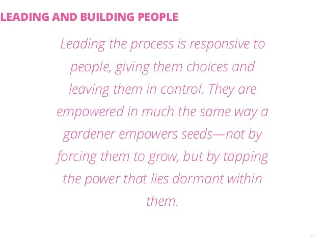 Leading the process is responsive to  people, giving them choices and  leaving them in control. They are  empowered in muc...