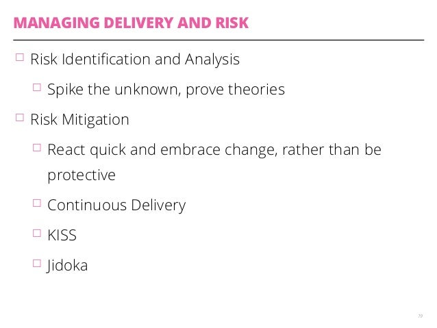 MANAGING DELIVERY AND RISK  䡦 Risk Identification and Analysis  䡦 Spike the unknown, prove theories  䡦 Risk Mitigation  䡦 ...