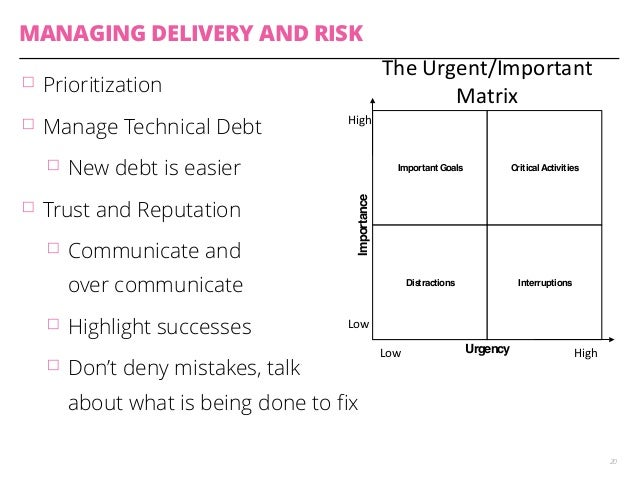 MANAGING DELIVERY AND RISK  䡦 Prioritization  䡦 Manage Technical Debt  䡦 New debt is easier  䡦 Trust and Reputation  High$...