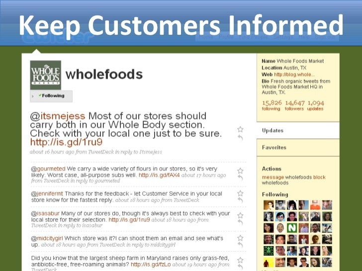 Keep Customers Informed