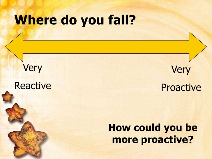 Where do you fall?<br />Very<br />Reactive<br />Very<br />Proactive<br />How could you be more proactive?<br />