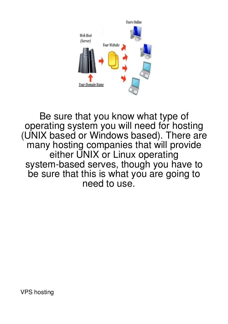Be sure that you know what type of operating system you will need for hosting(UNIX based or Windows based). There are many...