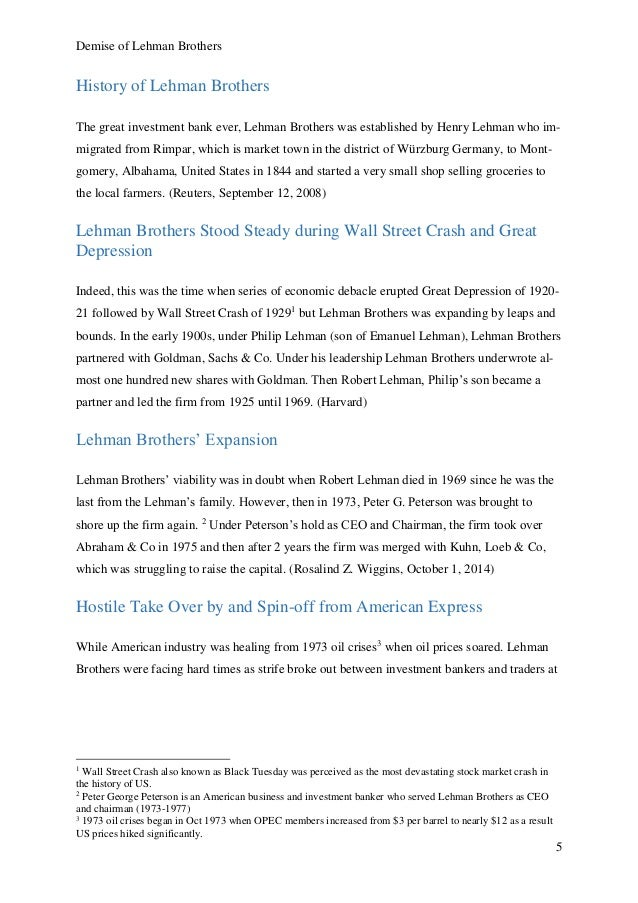 American Express Cover Letter By Demise Of Lehman Brothers