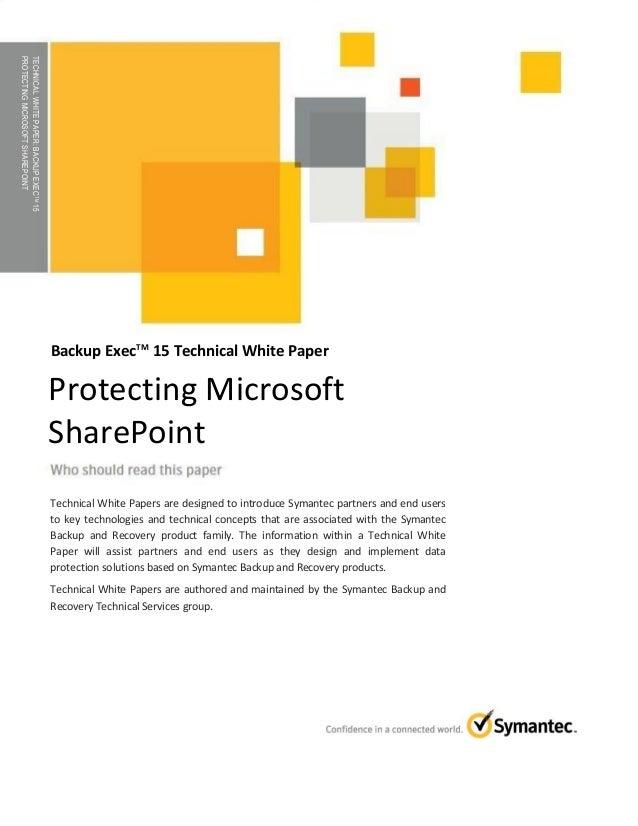 Protecting Microsoft Sharepoint with Backup Exec 15