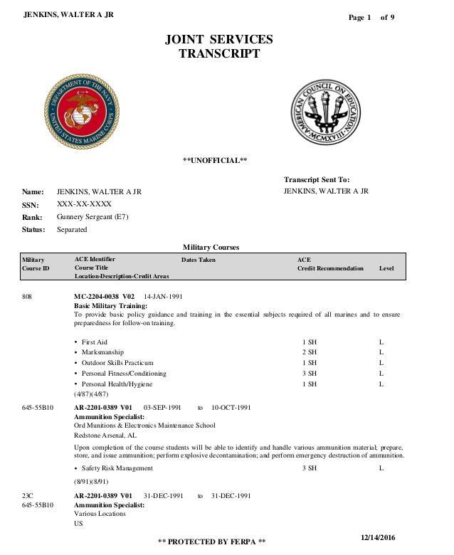 Jenkins Military Jst Transcript