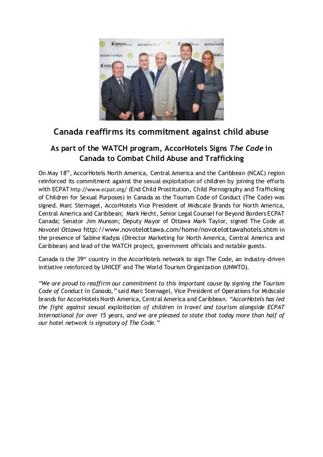 Canada reaffirms its commitment against child abuse As part of the WATCH program, AccorHotels Signs The Code in Canada to ...