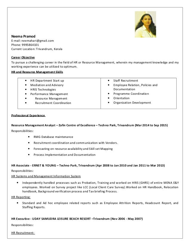 Resume - Neema Pramod - 5 years 5 months experience HR and