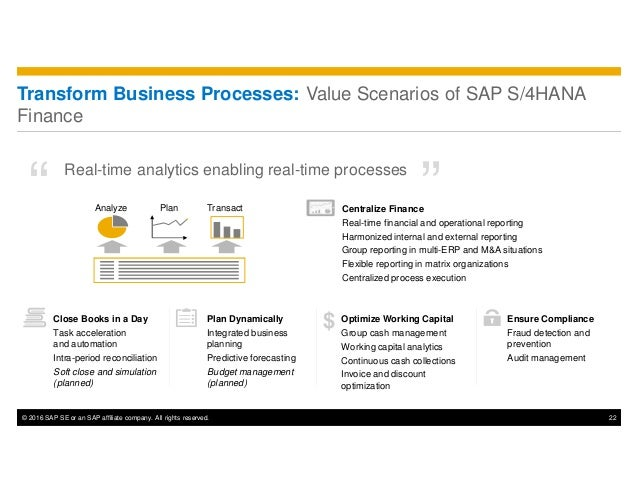 © 2016 SAP SE or an SAP affiliate company. All rights reserved. 22 Transform Business Processes: Value Scenarios of SAP S/...